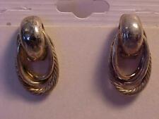 """Silver Triple Loop Knot Earrings Oblong Rope Twist Pierced Earrings 7/8"""""""