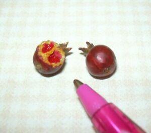 Miniature FALCON Pomegranate, Whole and Half: DOLLHOUSE Miniatures 1:12