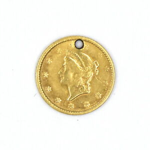 1853 1 DOLLAR GOLD PIECE US COLLECTIBLE 90% GOLD COIN PENDANT ANTIQUE JEWELRY