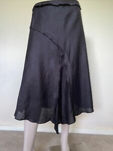 BROWN SUGAR Black Linen Midi Skirt sz 14