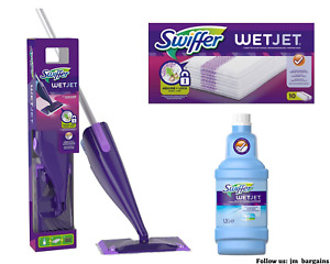 Swiffer WetJet Spray Mop Starter Kit + 10 Refill Wipes + 1.25L Cleaning Solution