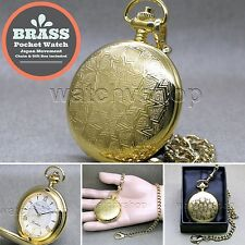 "Gold Antique Pocket Watch Brass Case Men Size Gift + 14"" Fob Link Chain P285"