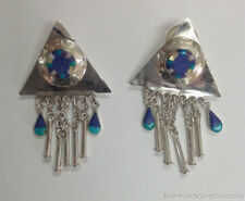 """Estate Jewelry Inlaid Lapis Turquoise Dangle Earrings Sterling Silver 2.5"""" Long"""