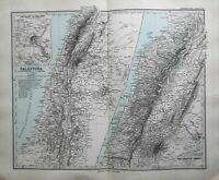 Holy Land Palestine Israel Lebanon Jerusalem Dead Sea 1884 Stieler detailed map