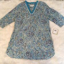 Karen Neuburger Women's Tunic Caftan Sleep Shirt Size S Paisley Blue