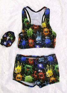 FUNKY MONSTERS PRINT 3 PIECE  FREESTYLE DANCE SET  -  AGE 5-6 YEARS