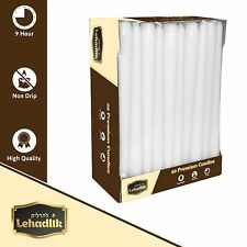 Lehadlik - 50 x 25cm Unscented White Bistro Tapered Dinner Candles 8-9 Burn Time