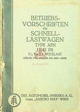 AQ-1218 Betriebsvorschrift Lastwagen AFN, Öst. Automobil-Fabrik, Original