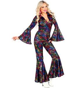70's Disco Dancing Diva Groovy Jumpsuit Swirl Ladies Fancy Dress Costume S-L