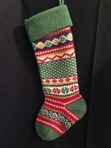 """FAIR ISLE KNIT CHRISTMAS STOCKING RED/GREEN/WHITE/GOLD ~ 19"""""""