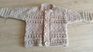 NEW HAND KNITTED CARDIGAN FOR 3-6 MONTH BABY BOY