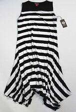 Vince Camuto Black White Stripe Sleeveless Handkerchief Jersey Midi Dress PL NWT
