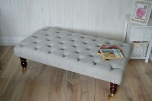 Chesterfield Deep Button Footstool in Casino Silver Fabric with Castor Legs
