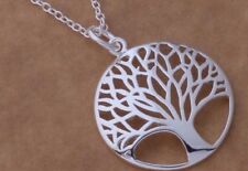 Tree of Life 925 Sterling Silver Pendant Charm Necklace Elegant Classic Timeless