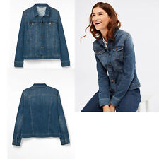 White Stuff Women Ladies Blue Buttoned Denim Jacket Coat 8 10 12 14 16 18 20 22