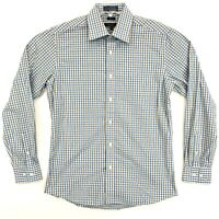 Marquis SLIM FIT Shirt Mens Size M Medium Brown Blue Check Long Sleeve Button Up