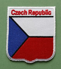 NATIONAL FLAG COUNTRY SHIELD SEW ON / IRON ON EMBROIDERED PATCH:- CZECH REPUBLIC