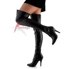 High Heels Overknee Stiefel Stretch Schwarz 11 - 13 cm Absatz Gr. 36 - 47