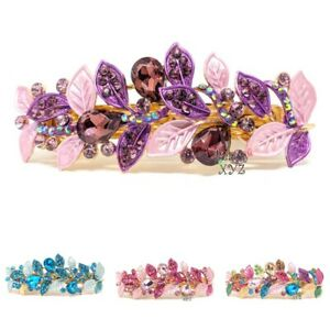 woman barrette crystal rhinestones metal leaf hair claw clips bridal Barrette