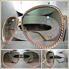 Classy Elegant Retro Style SUN GLASSES Rose Gold Frame Green & Pink Ombre Lens