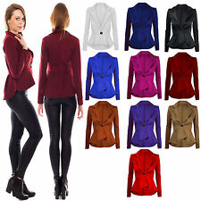 New Women's Ladies Peplum Crop Frill Shift Slim Fit Jacket Blazer Coat Size 8-26
