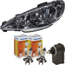 Scheinwerfer links Peugeot 206 inkl. Philips H7+h7+Motor bj. 98-10 klar chrom