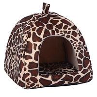 Small Pet Nest Dog Cat Fleece Soft-Warm Bed House Cotton Mat Lepard Size S HOT