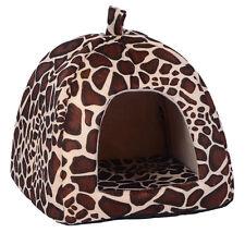Small Pet Nest Dog Cat Fleece Soft Warm Bed House Cotton Mat Lepard:)