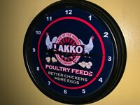 Lakko Poultry Chicken Feed Farm Barn Garage Man Cave Wall Clock Sign