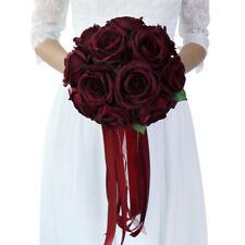 Silk Rose Flower Wedding Bridal Bouquet Hand Holding Flower Wine Red
