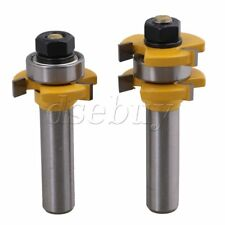2pieces Cemented Carbide 3 Wing Tongue Groove Router Bit 1/2