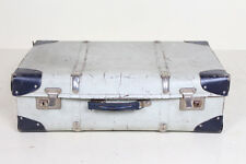 Vintage Suitcase Chest Steamer Coffee Table Trunk Storage Box Light Blue Grey