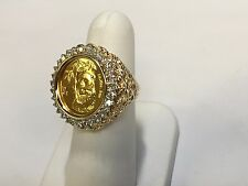 24K CHINESE PANDA BEAR COIN SET IN 14K SOLID GOLD COIN RING with .93 TCW