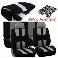 9Pcs Car Full Styling Seat Cover For Crossovers Sedans Gray Universal Grey