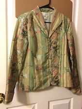 COLDWATER CREEK, WOMEN LONG SLEEVE EMBROIDERED FLORAL LINED JACKET COAT, PMEDIUM