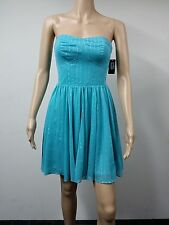 NEW FAST AUS - GUESS Size 14 Strapless Flared Knee Length Dress - Turquoise $138