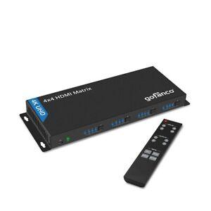 gofanco 4K 4x4 HDMI Matrix Switcher - 4K/60Hz 4:2:0, EDID, RS 232 - (Matrix44v2)