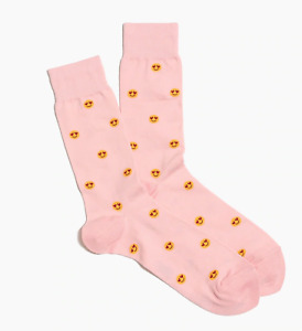 Mens Socks Pink Emoji Heart Eyes One Pair Casual Novelty New J Crew Buy 2+ Save