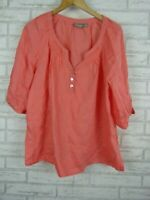 Sussan tunic top blouse peach 100% linen short sleeves size 10 loose fit