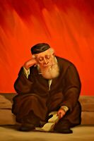 ABRAHAM STRASKI Signed ORIGINAL Street Study Judaica Rabbi Portrait Oil Painting