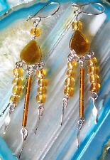 Boucles D'oreilles Alpaga Argent ambre de couleur Perles Verre Indien Inca Maya
