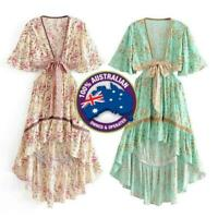 Women's Vintage Boho Floral Tassels Short Sleeve V-Neck Long Dress Mint & Pink