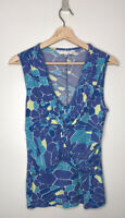 TRINA TURK Los Angeles Women's Blue Yellow Sleeveless Stretch Top Size M