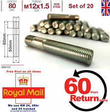 Vauxhall Conversion wheel studs screw-in hub. M12 x 1.5 80mm Long, set of 20