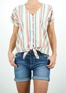 Womens FatFace Top Pink Green Holiday Multi Stripe Tie Front Ladies Shirt Blouse