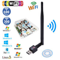 300/600M USB 2.0 Wifi Router Wireless Adapter Network LAN Card w/ 5dBI Antenna