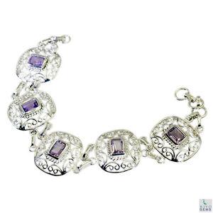 hervorragende Amethyst Silber lila Armband Schmuck l-7.5in de