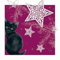 'Twinkle' Black Kitten Cat White Star 10 pack small square Christmas cards