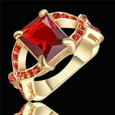 Fashion Ring Size 7 Red Ruby Women's 18Kt Yellow Gold Filled Wedding Jewelry
