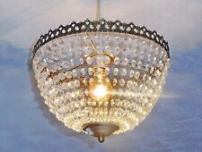 VINTAGE LOOK CHANDELIER ANTIQUE BRASS LIGHT GLASS DROPS BAGUETTE BAG BASKET NEW